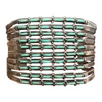 Signed AR Vintage Zuni Sterling Silver Petit Point Turquoise Cuff Bracelet