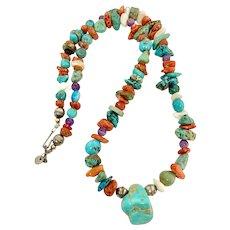 Wilson Tsosie Signed Navajo Sterling Silver Turquoise Multi Stone Beaded Necklace