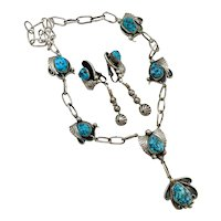 Will Vandever Navajo 950 Sterling Turquoise Squash Blossom Necklace Earrings Set
