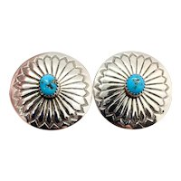 Vintage Navajo Sterling Silver Turquoise Stamped Concho Earrings