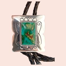 Vintage Southwestern Sterling Silver Green Turquoise Brown Leather Bolo Tie