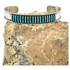 DL Bellson Signed Zuni Sterling Silver Genuine Turquoise Needlepoint Cuff Bracelet