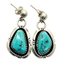 Irv Monte Signed Navajo Sterling Silver Turquoise Dangle Earrings