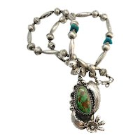Vintage Navajo Sterling Silver Green Turquoise Squash Blossom Necklace