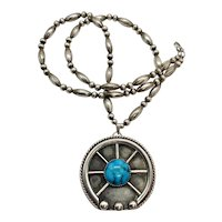 Navajo Sterling Silver Turquoise Naja Pendant Beaded Necklace