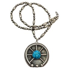 Southwestern Sterling Silver Turquoise Naja Pendant Beaded Necklace
