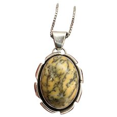 Cecil Sanders Navajo Sterling Silver Yellow Dendrite Opal Pendant Necklace