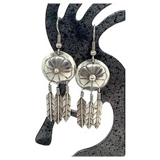 Vintage Southwestern Sterling Silver Stamped Concho Feather Dangle Earrings