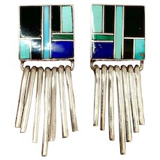 Signed RM Navajo Sterling Silver Turquoise Multi Stone Inlay Dangle Earrings