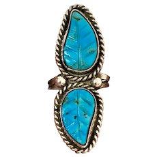Vintage Navajo Sterling Silver Natural Carved Turquoise Leaf Ring
