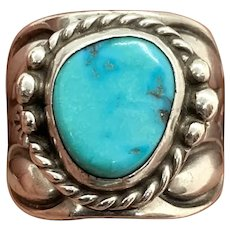 Vintage Signed Southwestern Sterling Silver Natural Turquoise Band Ring