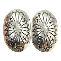 Jeanette Dale Signed Navajo Stamped Sterling Silver Concho Earrings