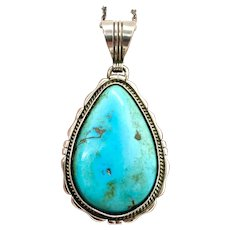 Ted Etsitty Signed Navajo Sterling Silver Natural Turquoise Pendant Necklace