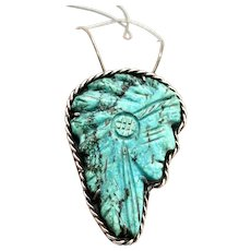 Vintage Southwestern Sterling Silver Natural Hand Carved Turquoise Indian Chief Pendant Necklace