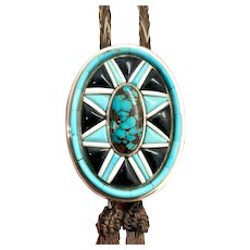 Robert Drozd Handmade Southwestern Sterling Silver Turquoise Horse Hair Bolo Tie