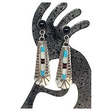 Southwestern Sterling Silver Turquoise Multi Stone Inlay Dangle Earrings