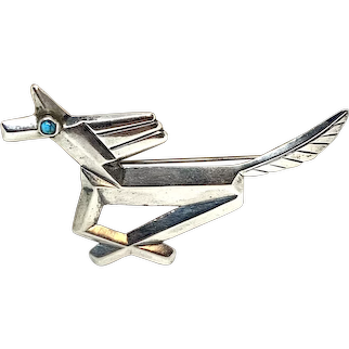 Vintage Handmade Southwestern Sterling Silver Turquoise Horse Pin Brooch
