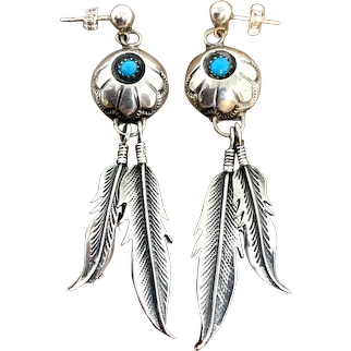 Vintage Southwestern Sterling Silver Turquoise Concho Feather Dangle Earrings