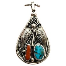 Southwestern Reversible Sterling Silver Turquoise Coral Pendant Necklace