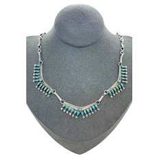 Early Southwestern Sterling Silver Turquoise Petit Point Bib Necklace
