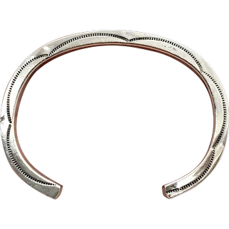 Nora Tahe Signed Navajo Stamped Sterling Silver Women's Cuff Bracelet