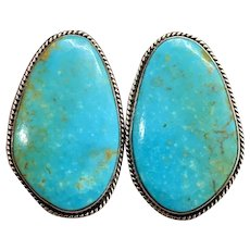 Milton Lee Signed Navajo Sterling Silver Genuine Blue Turquoise Clip On Earrings