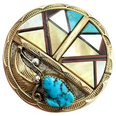 Gilbert Adeky Signed Navajo Gold Sterling Silver Turquoise Multi Stone Inlay Bolo Tie