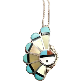 Southwestern Sterling Silver Multi Stone Inlay Sunface Pendant Pin Necklace