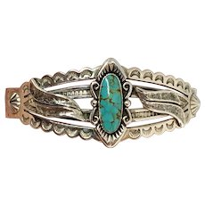 Bell Trading Southwestern Sterling Silver Turquoise Cuff Bracelet