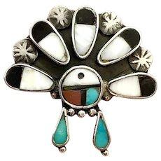 Vintage Zuni Sterling Silver Multi Stone Inlay Sunface Kachina Ring