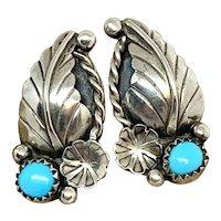 Vintage Navajo Sterling Silver Turquoise Squash Blossom Stud Earrings