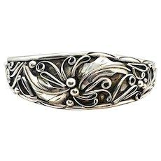 Southwestern Handmade Sterling Silver Squash Blossom Cuff Bracelet