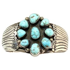 Signed Southwestern Sterling Silver Cripple Creek Turquoise Cluster Cuff Bracelet