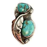 Vintage Navajo Large Sterling Silver Natural Turquoise Squash Blossom Ring