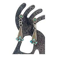 Zuni Sterling Silver Snake Eye Petit Point Turquoise Dangle Earrings