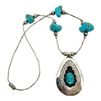 Vintage Navajo Sterling Silver Turquoise Beaded Necklace