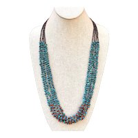 Navajo Sterling Silver Turquoise And Coral Multi Strand Heishi Beaded Necklace