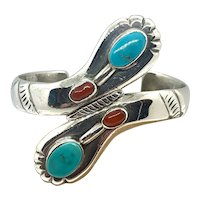 Ramone Platero Signed Navajo Sterling Silver Turquoise Coral Cuff Bracelet