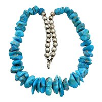 Vintage Navajo Pearl Sterling Silver Turquoise Nugget Beaded Necklace