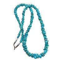 Vintage Navajo Southwestern Sterling Genuine Blue Turquoise Beaded Necklace