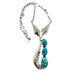 Signed Navajo Sterling Silver Natural Turquoise Squash Blossom Necklace