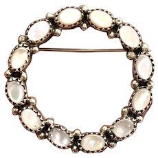 Vintage Navajo Sterling Silver Pink Mother Of Pearl Pin Brooch