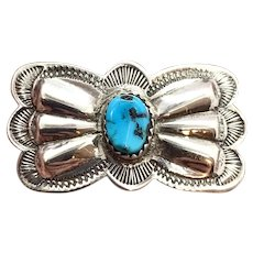 Vintage Navajo Sterling Silver Turquoise Concho Pin Brooch
