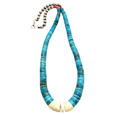 Vintage Santo Domingo Sterling Silver Natural Turquoise Heishi Bead Jacla Necklace