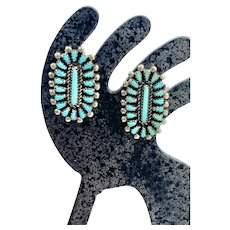 Vintage Zuni Sterling Silver Turquoise Cluster Petit Point Stud Earrings