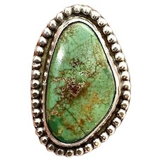 Signed Navajo Southwestern Sterling Silver Natural Green Turquoise Ring