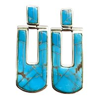 Signed Navajo Sterling Silver Natural Turquoise Inlay Dangle Earrings
