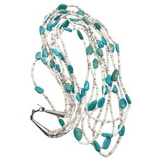 Santo Domingo Sterling Natural Turquoise Multi Strand Heishi Beaded Necklace