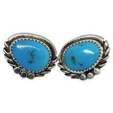 Vintage Navajo Southwestern Sterling Silver Genuine Blue Turquoise Stud Earrings