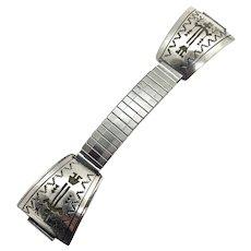 Nakai Signed Navajo Men's Sterling Silver Kachina Watch Tips Band